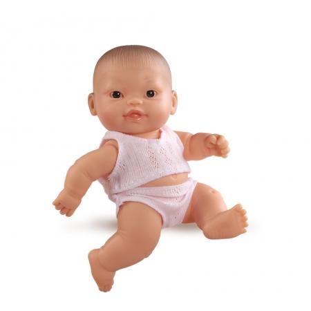 Baby pop, met ondergoed, donkere ogen, 21 cm
