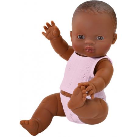 Baby pop meisje donker, 34cm in ondergoed