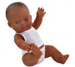 Baby pop jongen donker, 34cm in ondergoed